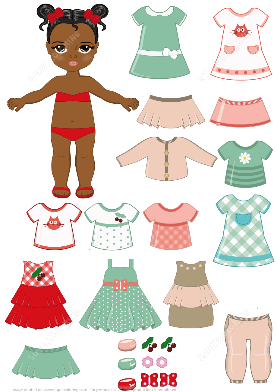 African-American Girl Child Paper Doll With Clothing Set From Dress - Free Printable Dress Up Paper Dolls
