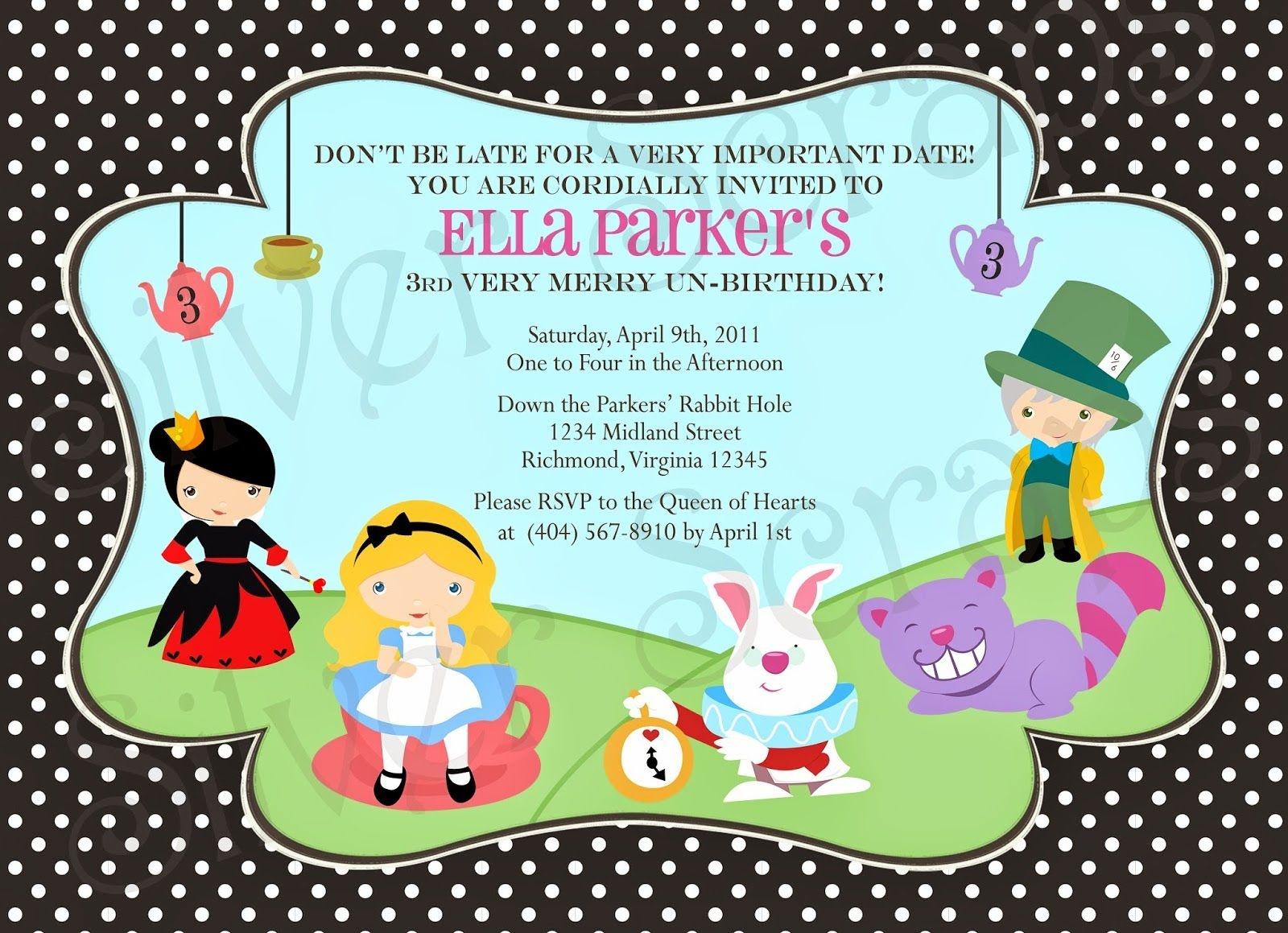 Alice In Wonderland Birthday Invitations Free Printable | Alice - Mad Hatter Tea Party Invitations Free Printable