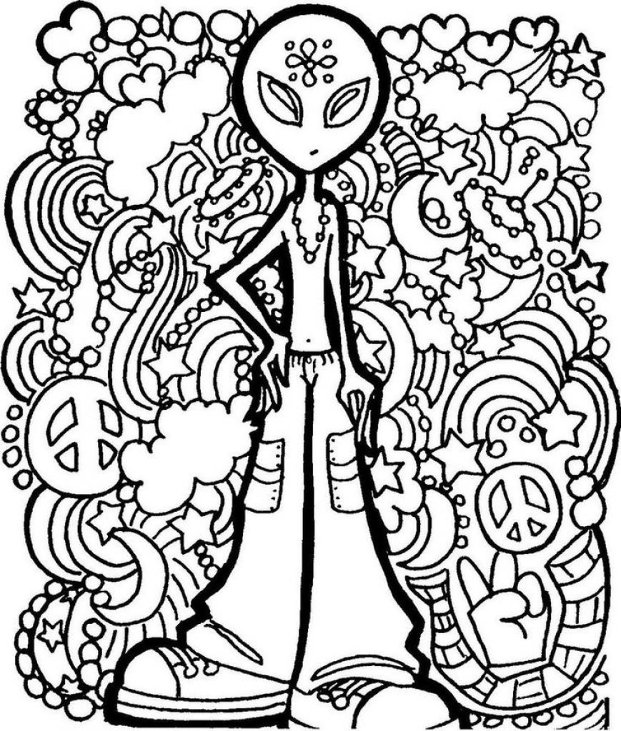 Alien Trippy Printable Coloring Page Free | Coloring Pages - Free Printable Trippy Coloring Pages