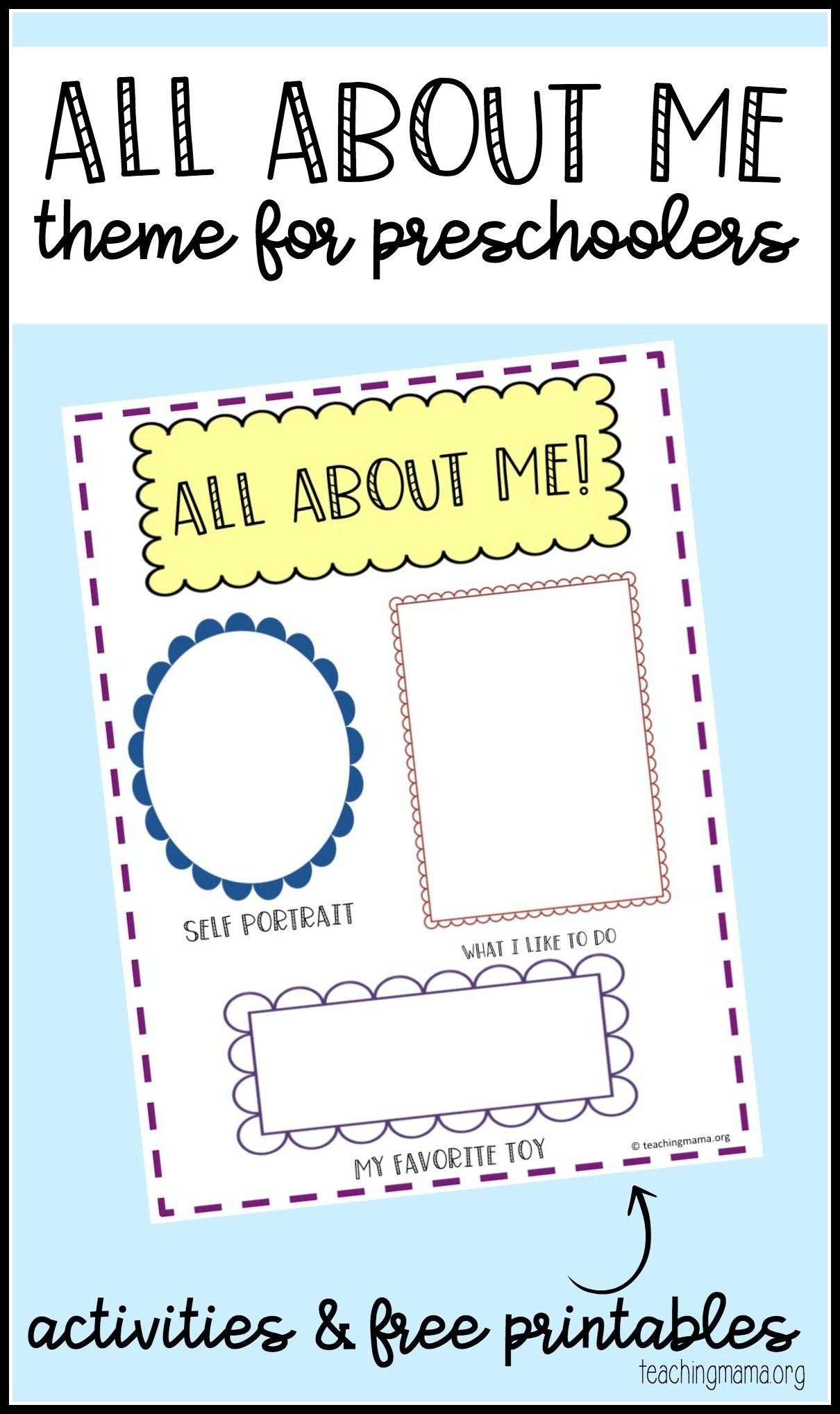 photo about All About Me Preschool Printable identified as All With regards to Me Preschool Topic - Free of charge Printable Early