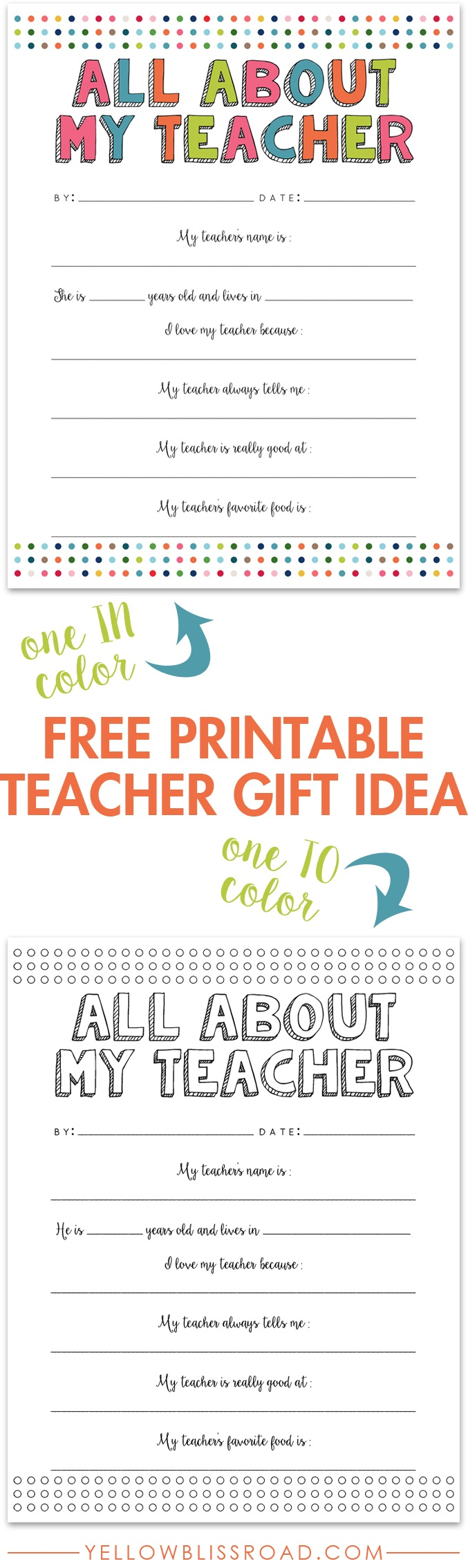 All About My Teacher Free Printable - Yellow Bliss Road - All About My Teacher Free Printable