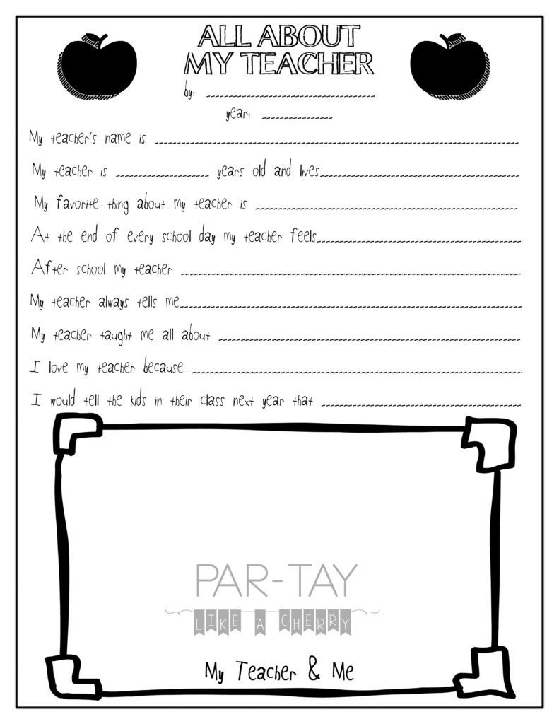 All About My Teacher- Free Teacher Appreciation Printable - All About My Teacher Free Printable