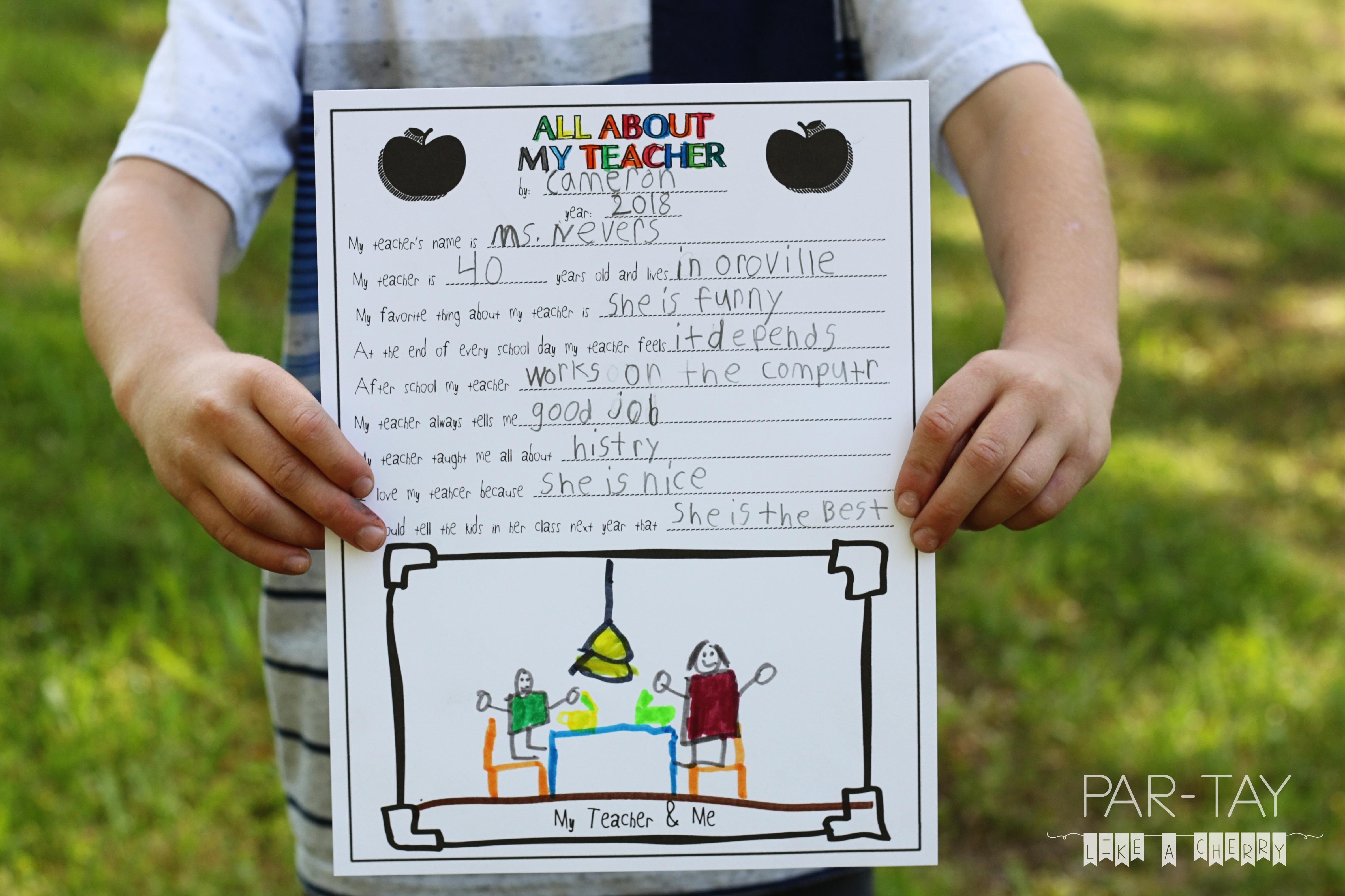All About My Teacher- Free Teacher Appreciation Printable - Party - All About My Teacher Free Printable