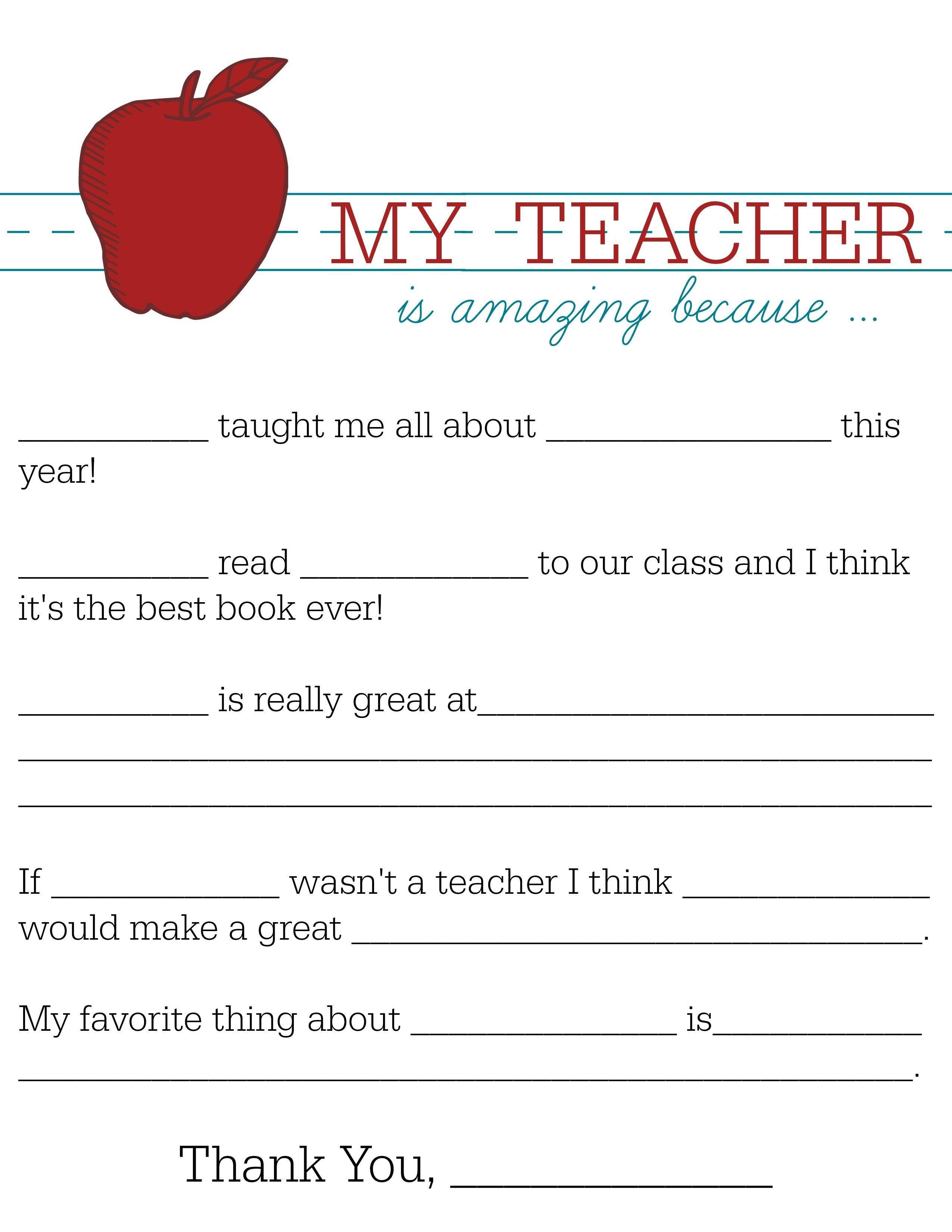 All About My Teacher | Parents: Raise A Reader Blog | Teacher - All About My Teacher Free Printable