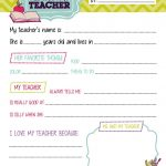 All About My Teacher Questionnaire Printablestealolivedesigns   All About My Teacher Free Printable