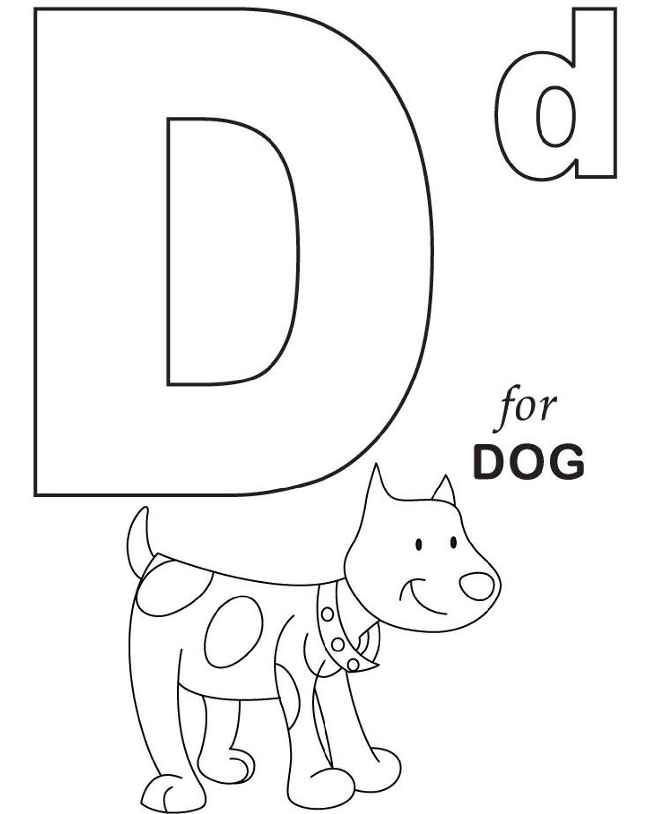 Alphabet Coloring, D For Dog Printable Alphabet Coloring Pages: D - Free Printable Alphabet Coloring Pages