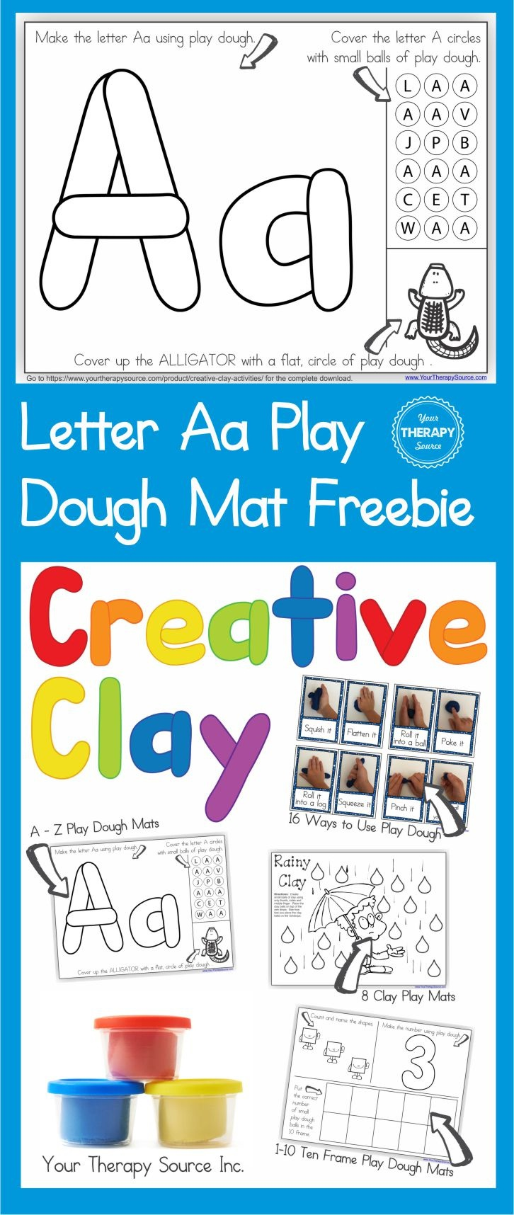 Alphabet Playdough Mat - Letter Aa - Your Therapy Source - Alphabet Playdough Mats Free Printable