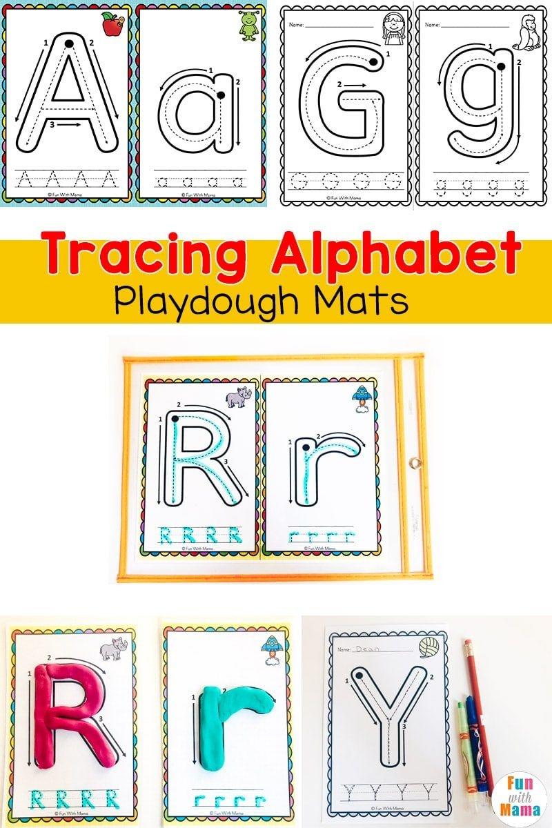 Alphabet Tracing Mats - Play Dough Mats   Alphabet Letter Activities - Alphabet Playdough Mats Free Printable