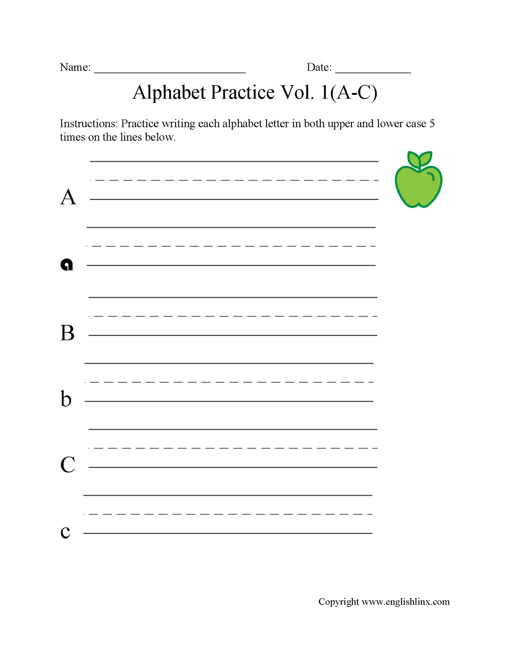 Alphabet Worksheets | Writing The Alphabet Worksheets - Free Printable Alphabet Worksheets For Grade 1