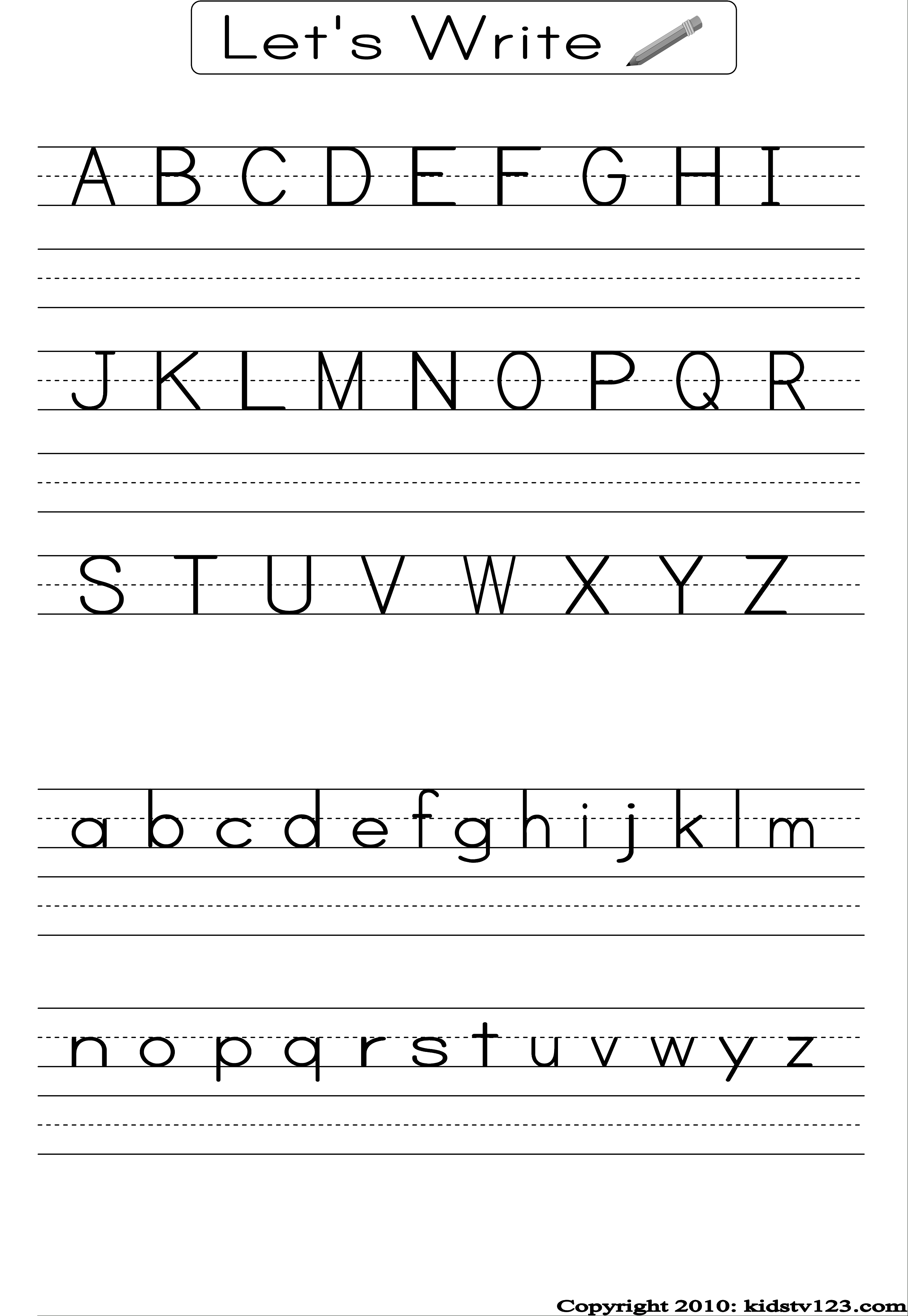 Alphabet Writing Practice Sheet | Edu-Fun | Alphabet Worksheets - Free Printable Handwriting Worksheets