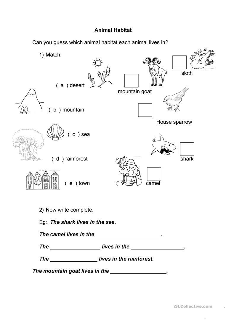 Animal Habitat Worksheet - Free Esl Printable Worksheets Made - Free Printable Worksheets Animal Habitats