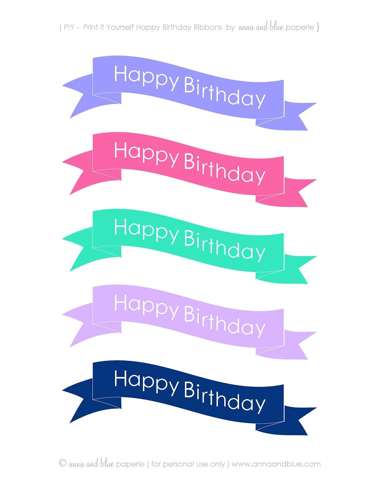 Anna And Blue Paperie: {Free Printable} Happy Birthday Cake Banners - Free Printable Happy Birthday Cake Topper