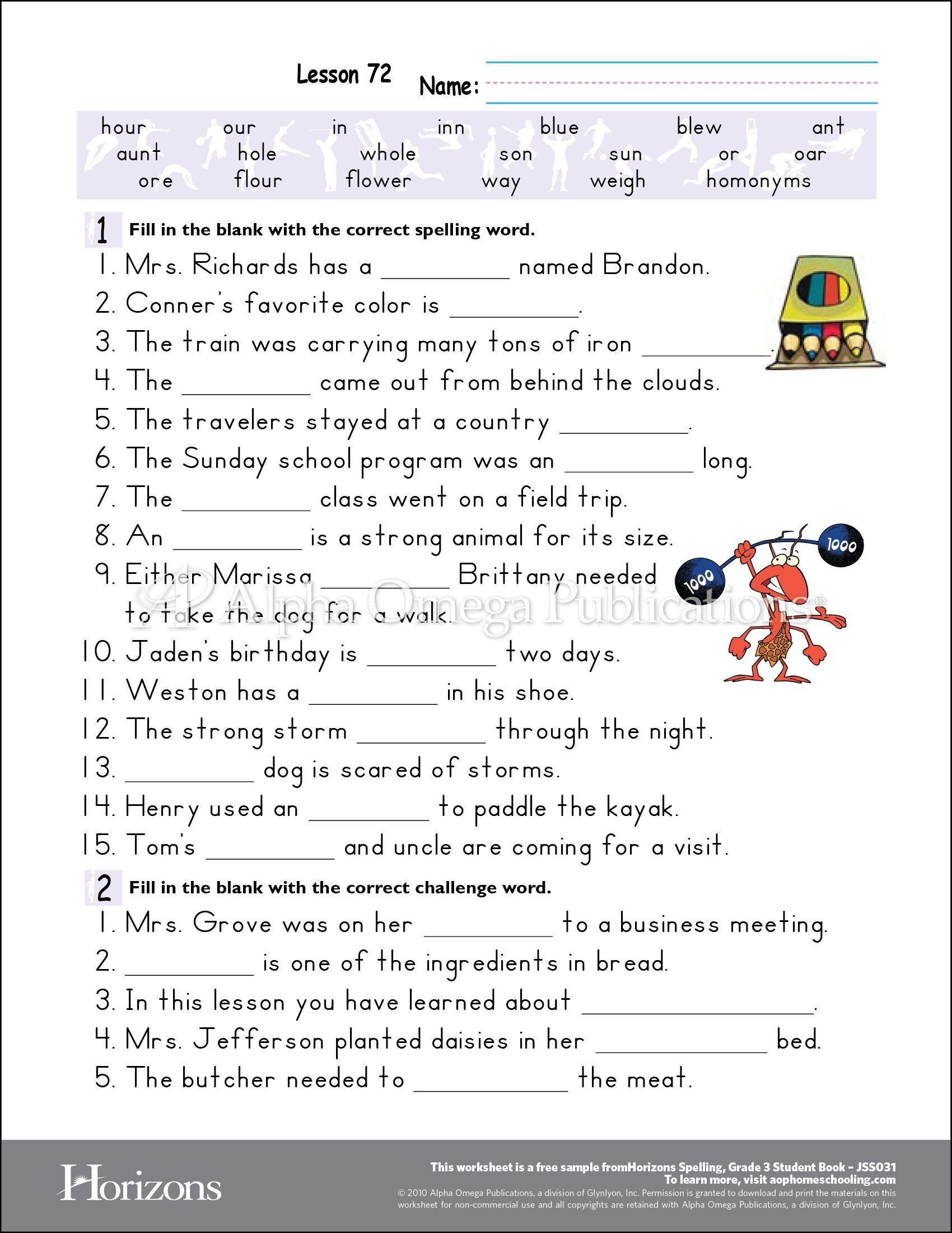 Aop Horizons Free Printable Worksheet Sample Page Download For - Free Homeschool Printable Worksheets