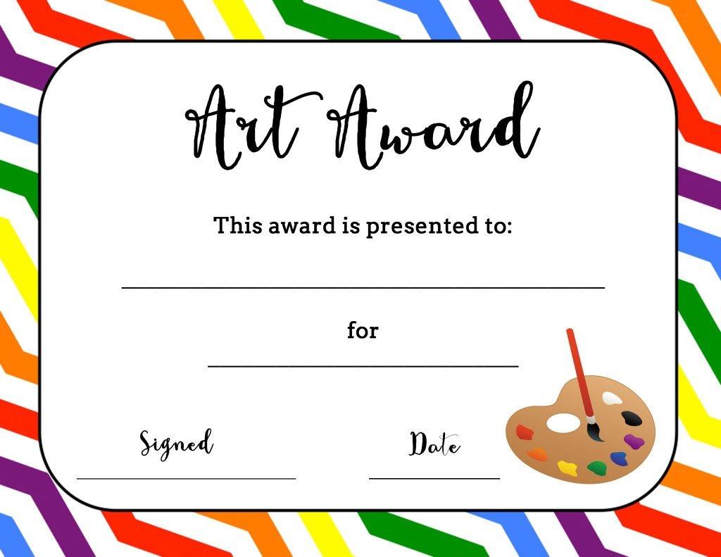 Art Award Certificate (Free Printable) | Art | Elementary Art, Free - Free Printable Camp Certificates