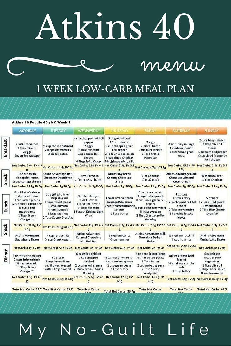 Atkins 40   Lose Weight   Atkins 40 Meal Plan, Atkins Diet, No Carb - Free Printable Low Carb Diet Plans