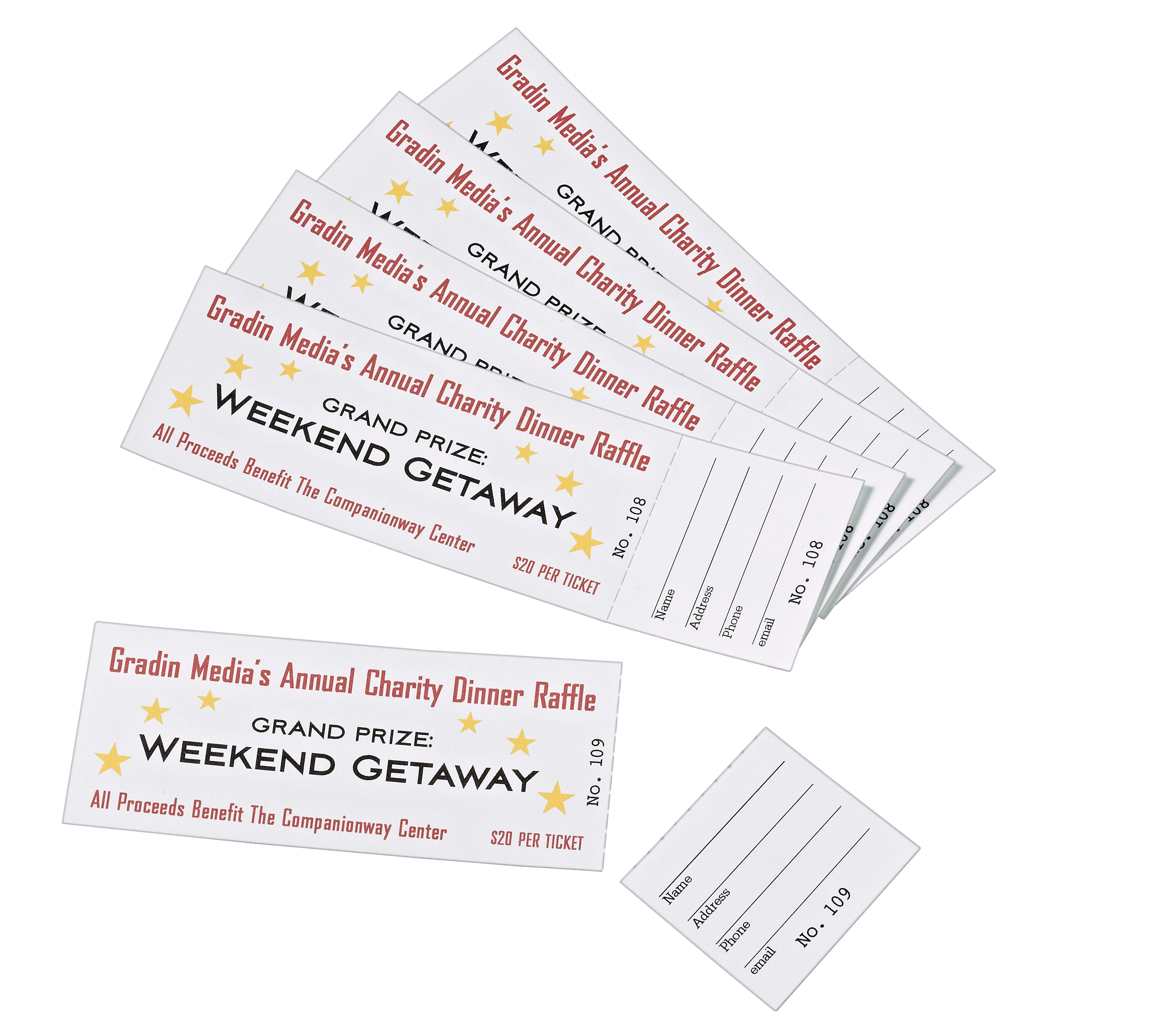 Avery Tickets With Tear-Away Stubs, Matte, Two-Sided Printing,1-3/4 - Free Printable Raffle Tickets With Stubs