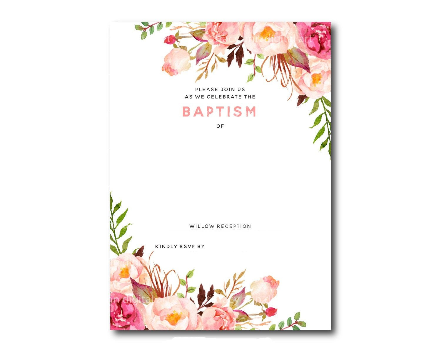 Awesome Free Template Free Printable Baptism Floral Invitation - Free Printable Baptism Invitations