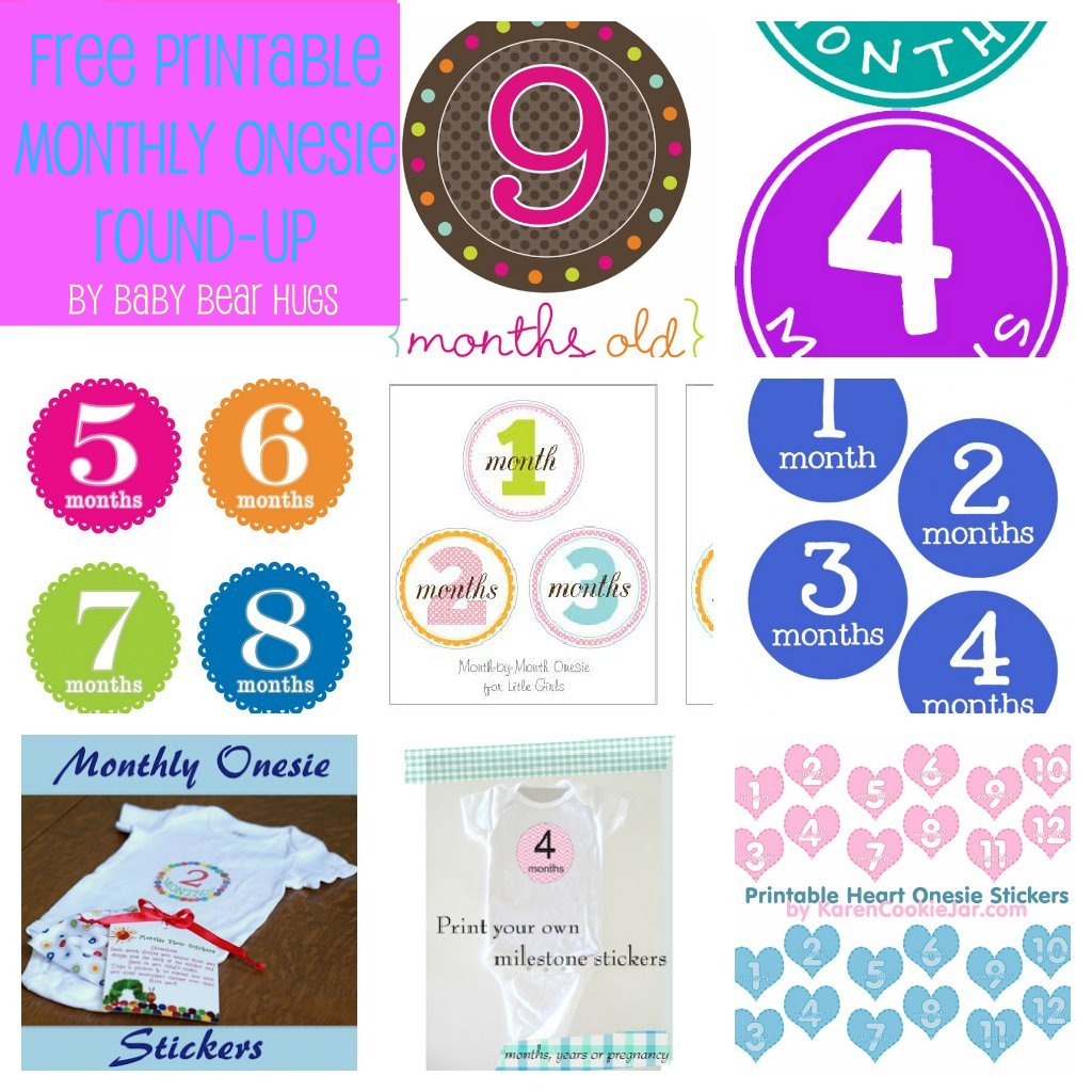 Baby Bear Hugs: 7 Free Printable Month Stickers Round-Up - Free Printable Baby Month Stickers