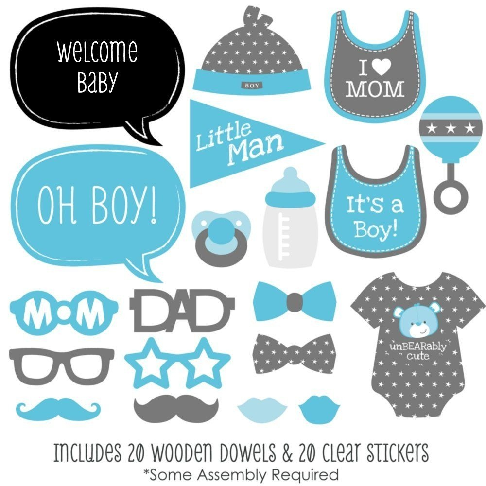 Baby Boy - Baby Shower Photo Booth Props Kit - 20 Count   Clip Art - Free Printable Boy Baby Shower Photo Booth Props