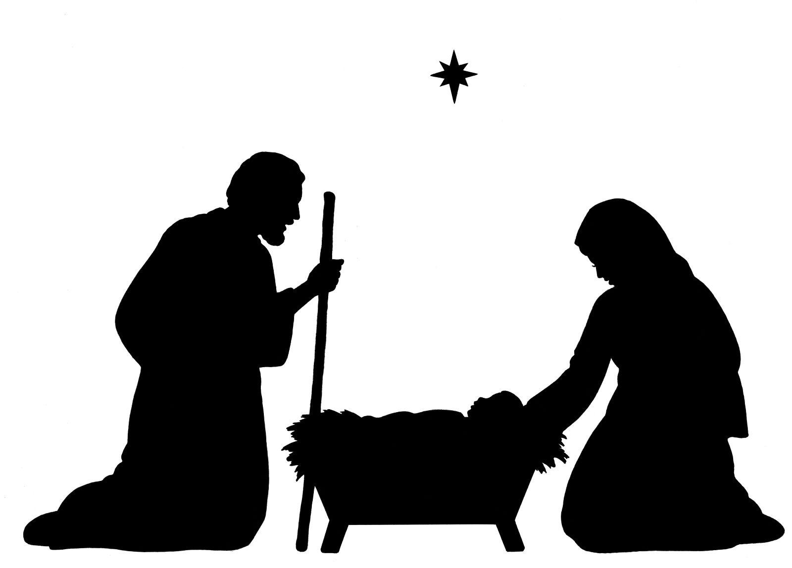 Baby Jesus Silhouette   Nativity Silhouette Clip Art   + Black - Free Printable Nativity Silhouette