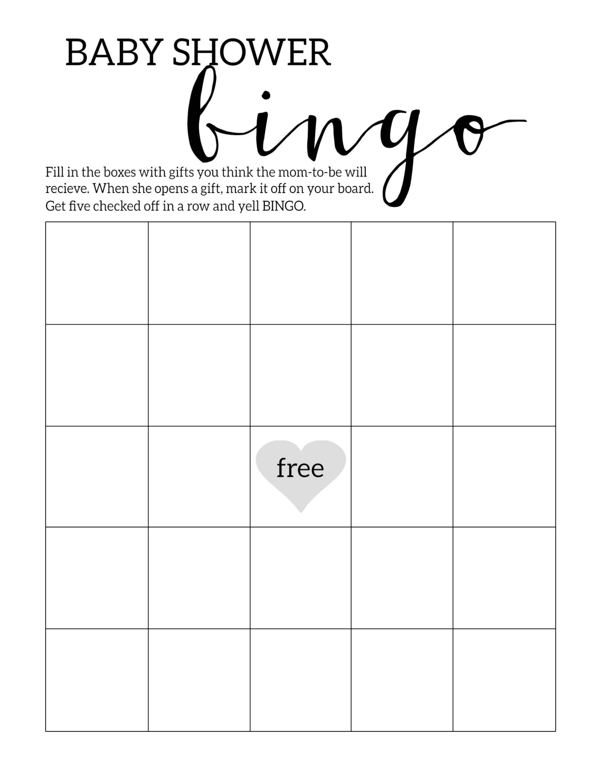 Baby Shower Bingo Printable Cards Template - Paper Trail Design - Baby Bingo Free Printable Template