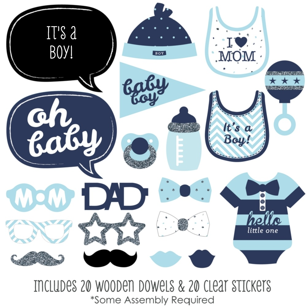 Baby Shower. Free Printable Baby Shower Photo Booth Props: Photo - Free Printable Boy Baby Shower Photo Booth Props