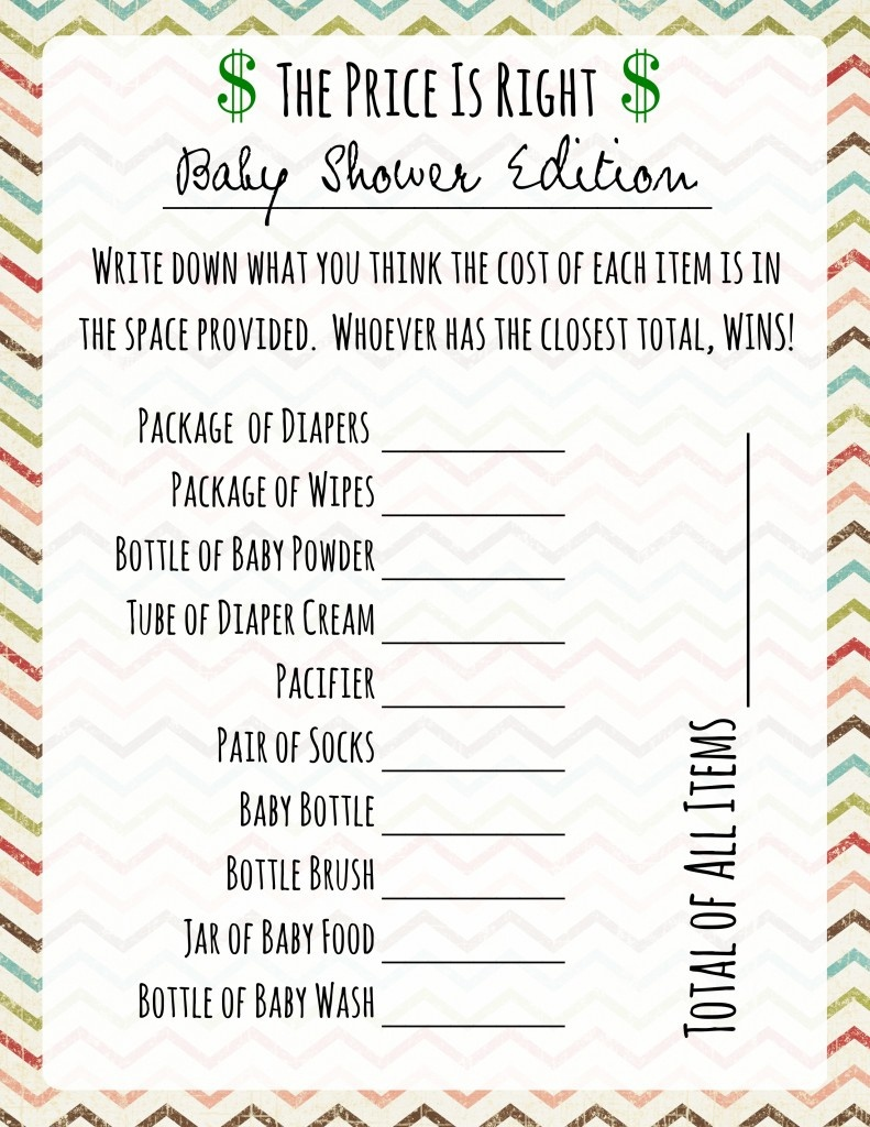 Baby Shower Games: Price Is Right - Frugal Fanatic - What's In The Diaper Bag Game Free Printable
