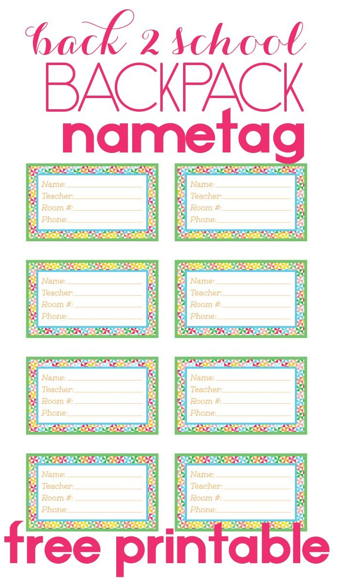 Back To School Backpack Name Tag | Diy Products | Name Tag For - Free Printable Name Tags For Students