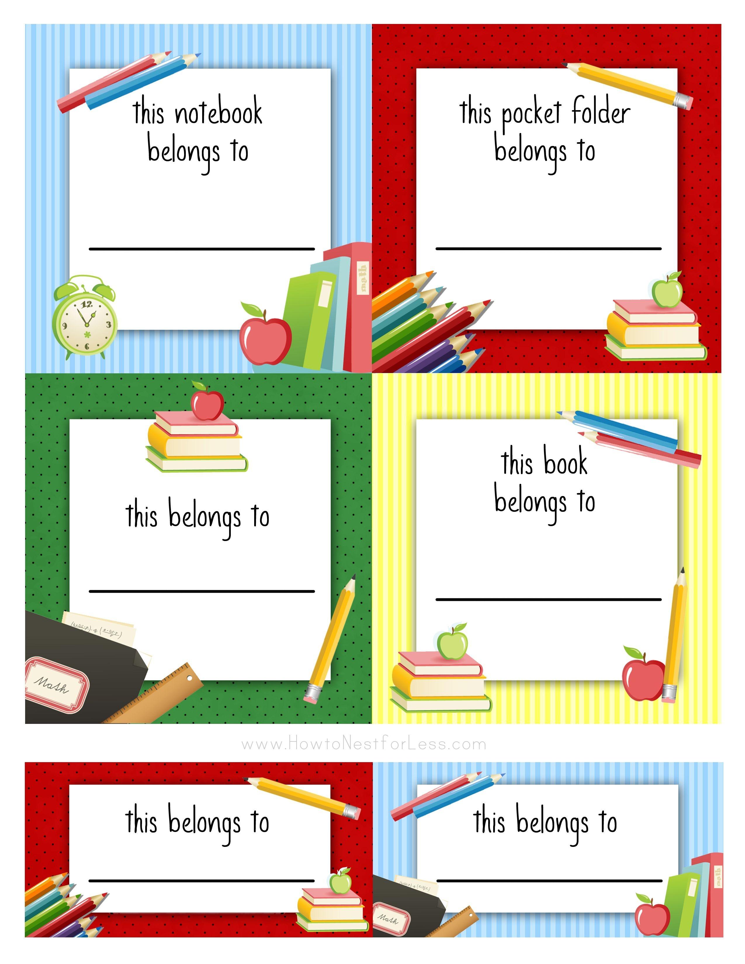 Back To School Labels For Kids | Printables, Freebies, Diy | Kids - Free Printable Name Tags For School Desks