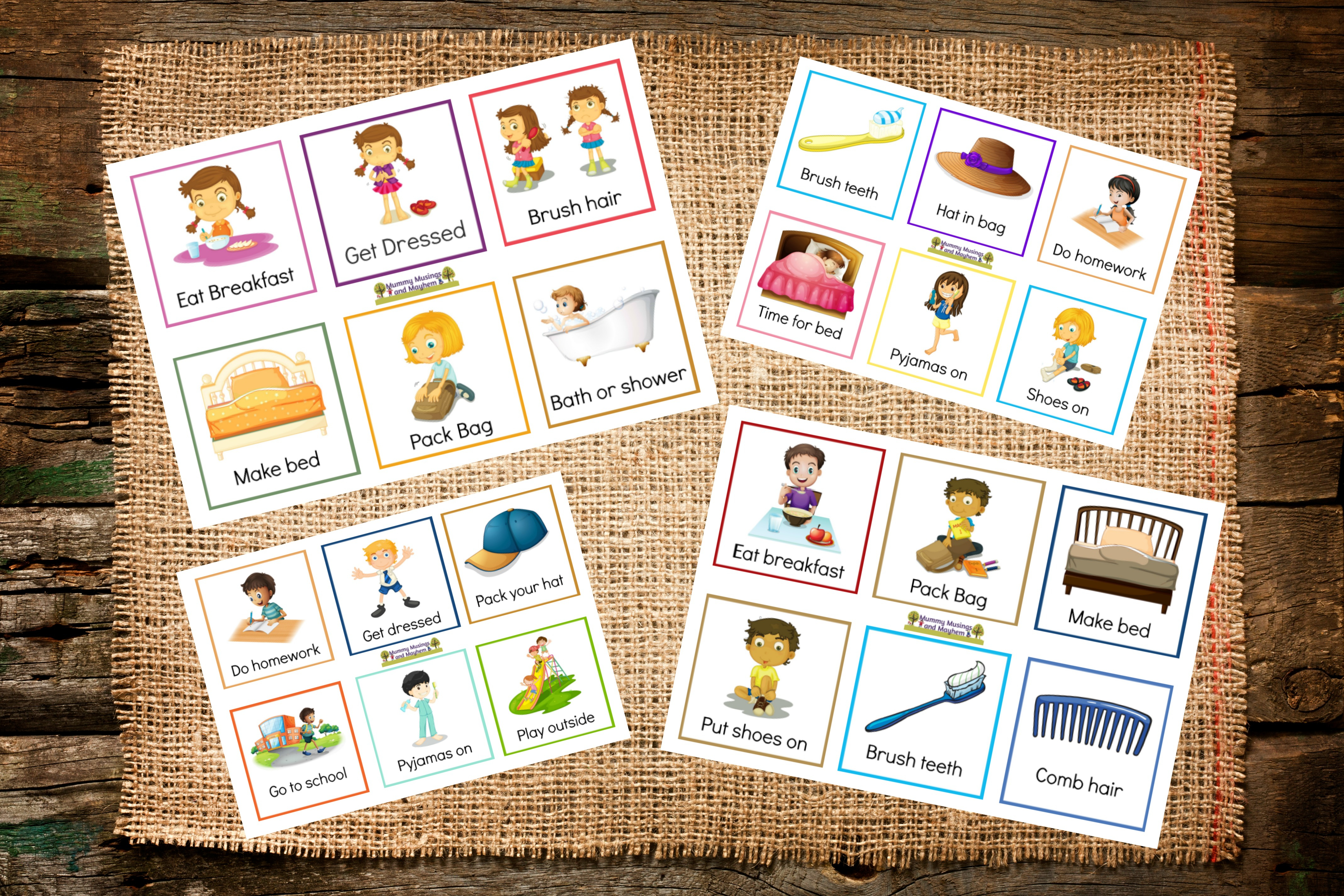 Back To School Routines - Free Printable Cards To Make It Easier - Free Printable Picture Schedule Cards