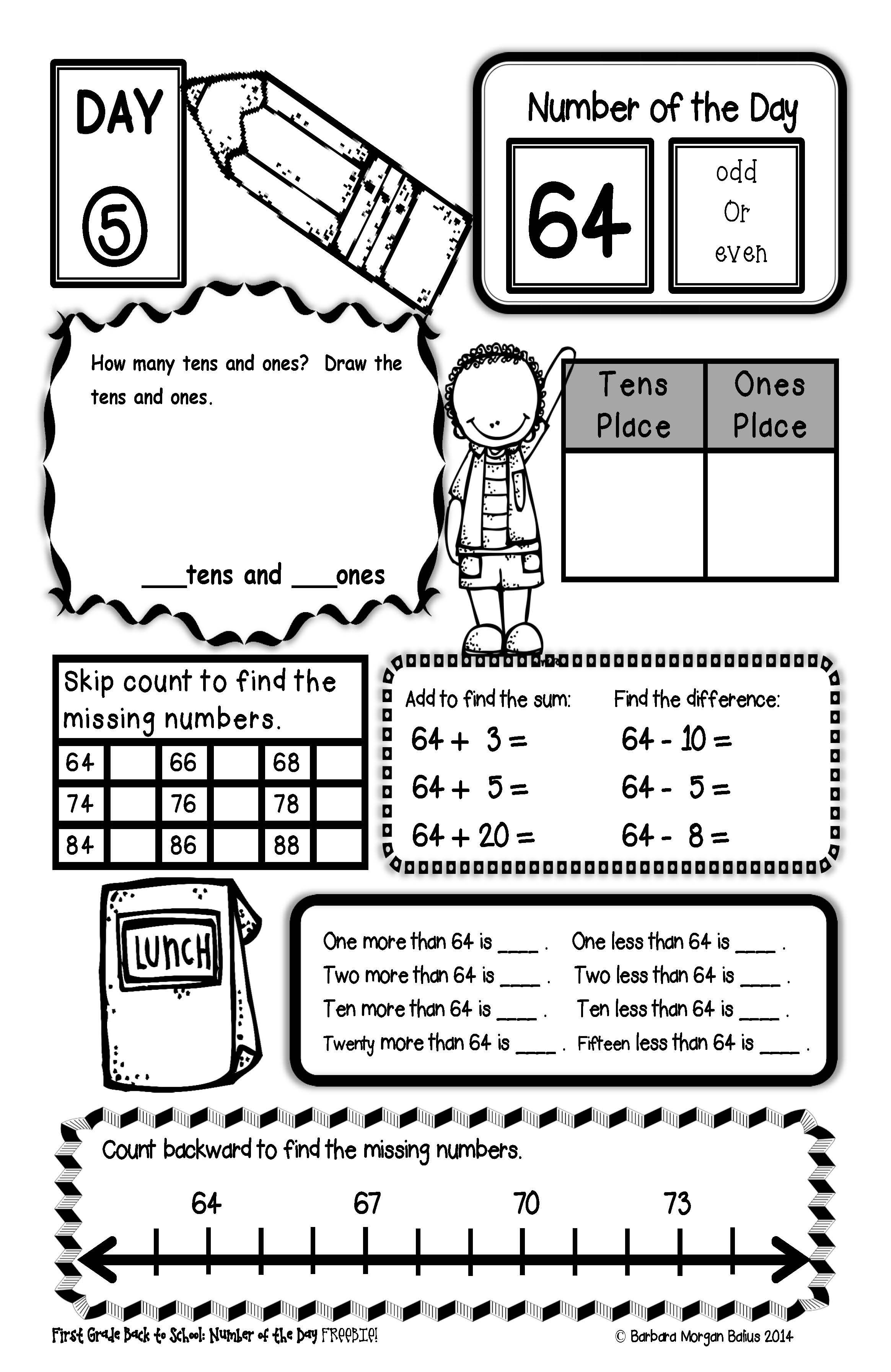 Back To School Second Grade Math Number Of The Day Freebie - Free Printable Number Of The Day Worksheets