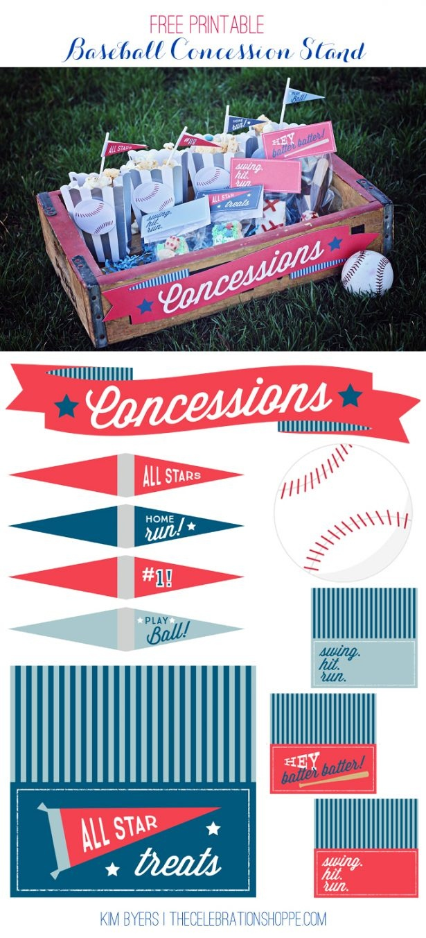 Baseball Party Decoration Ideas & Supplies | Free Printables - Free Concessions Printable