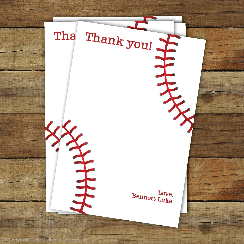 Baseball Thank You Card Printable Baseball Thank You | Etsy - Free Printable Baseball Stationery