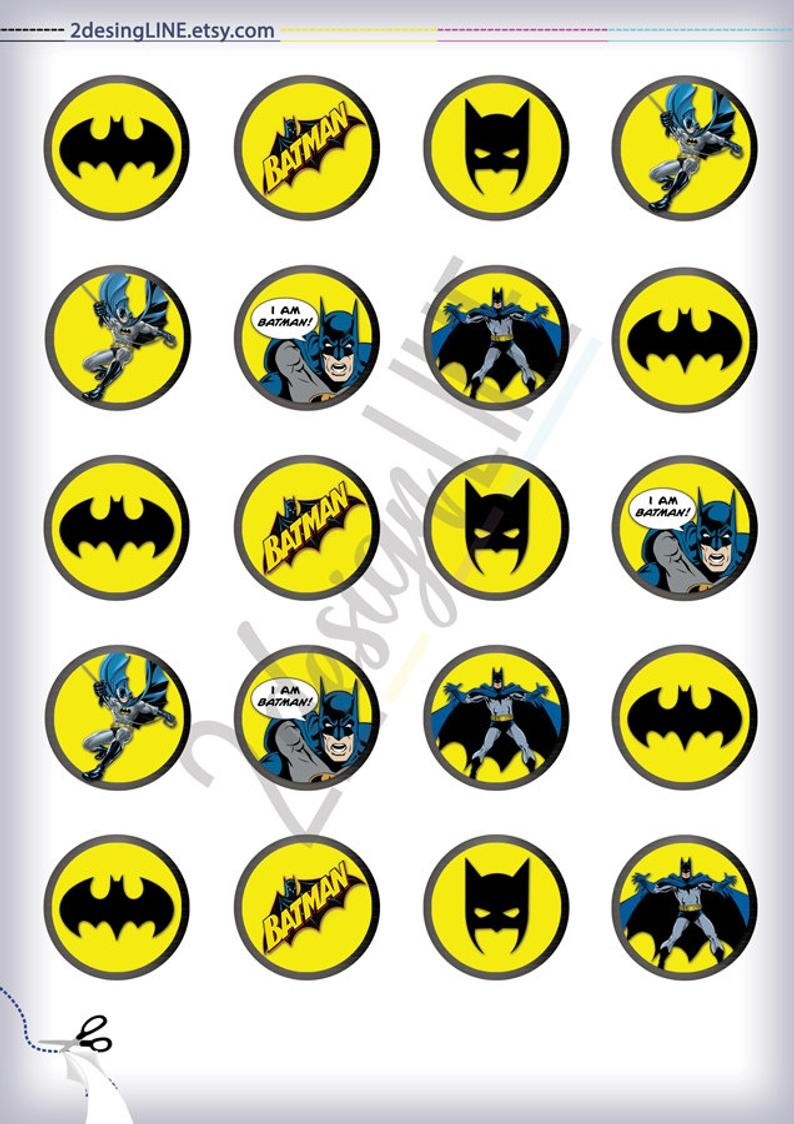 Batman Cupcake Toppers Batman Birthday Decor Printable | Etsy - Batman Cupcake Toppers Free Printable