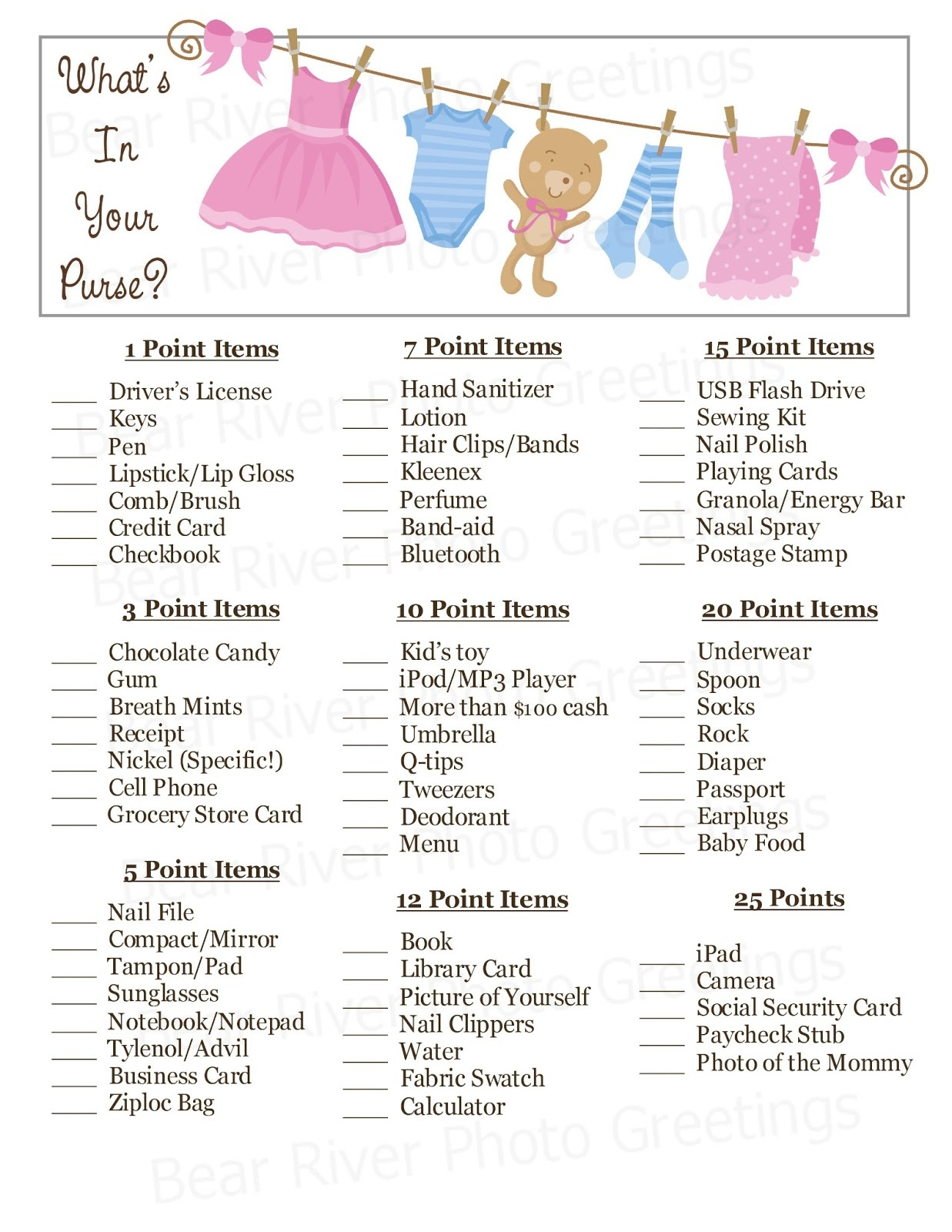 Bear River Photo Greetings: New! Instant Download Baby Shower Games - Free Printable Baby Shower Games What's In Your Purse