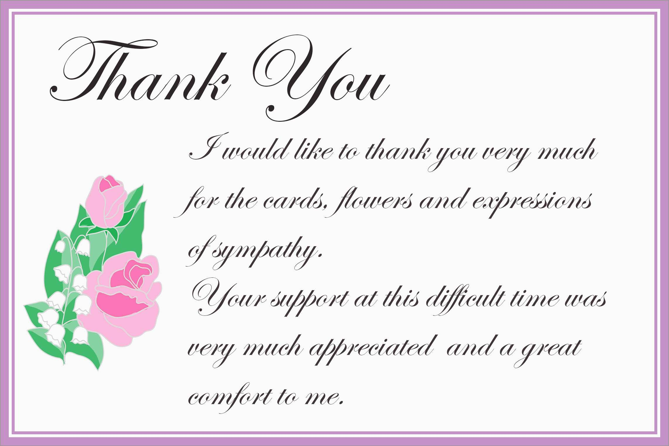 Beautiful Free Funeral Thank You Cards Templates | Best Of Template - Thank You Sympathy Cards Free Printable