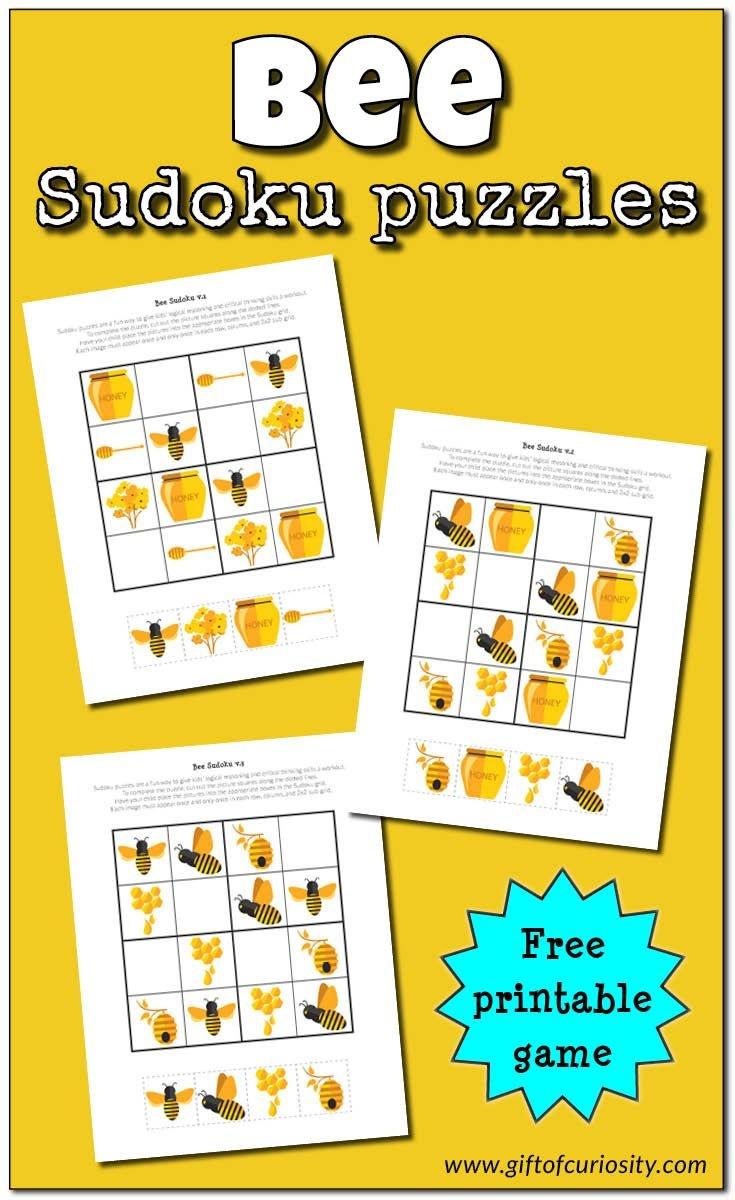 Bee Sudoku {Free Printable}   Free Printable Of The Day   Sudoku - Free Printable Critical Thinking Puzzles
