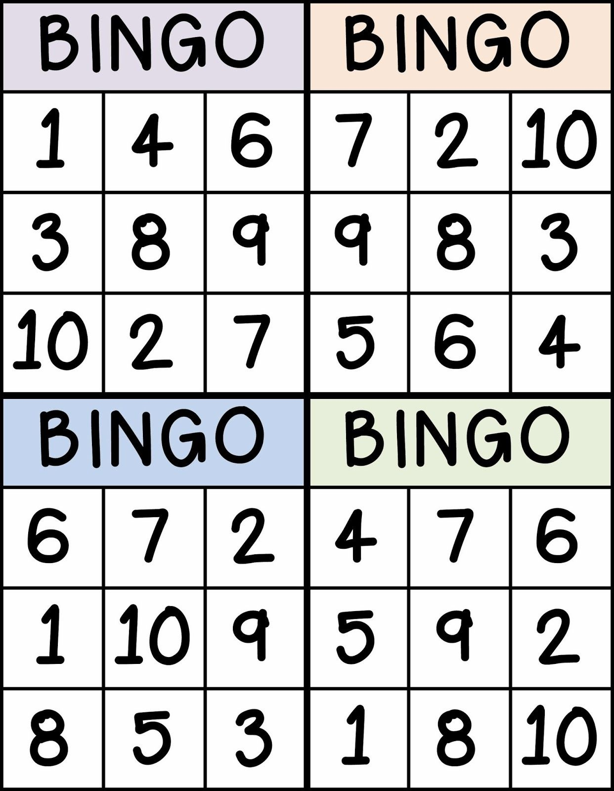 Bingo For Numbers 1-10. Great For Preschool Number Identification - Free Printable Number Bingo Cards 1 20