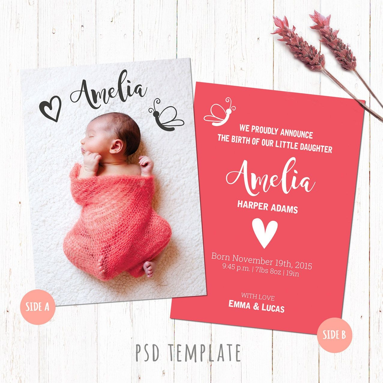 Birth Announcement Template Card. Baby Girl Birth Card. Newborn Card - Free Printable Baby Birth Announcement Cards
