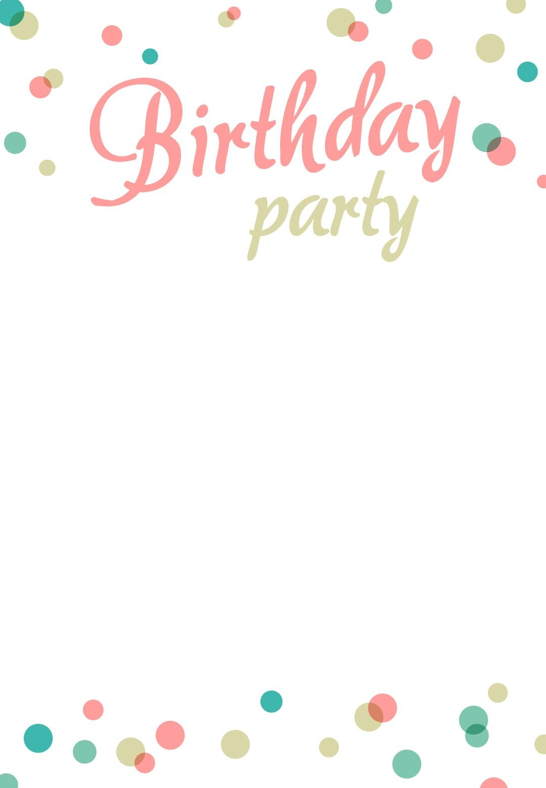 Birthday Party Dots - Free Printable Birthday Invitation Template - Free Printable Birthday Invitation Templates
