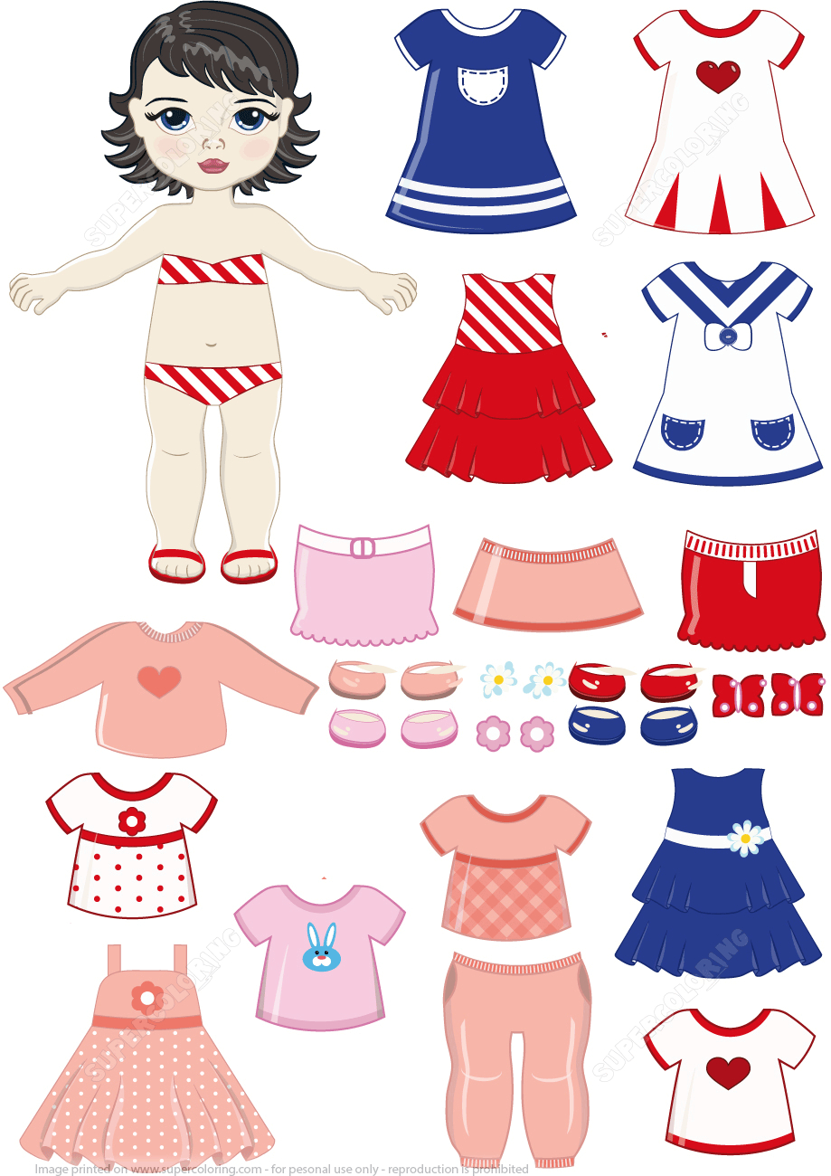 Black Haired Girl Child Paper Doll With Clothing Set From Dress Up - Free Printable Dress Up Paper Dolls