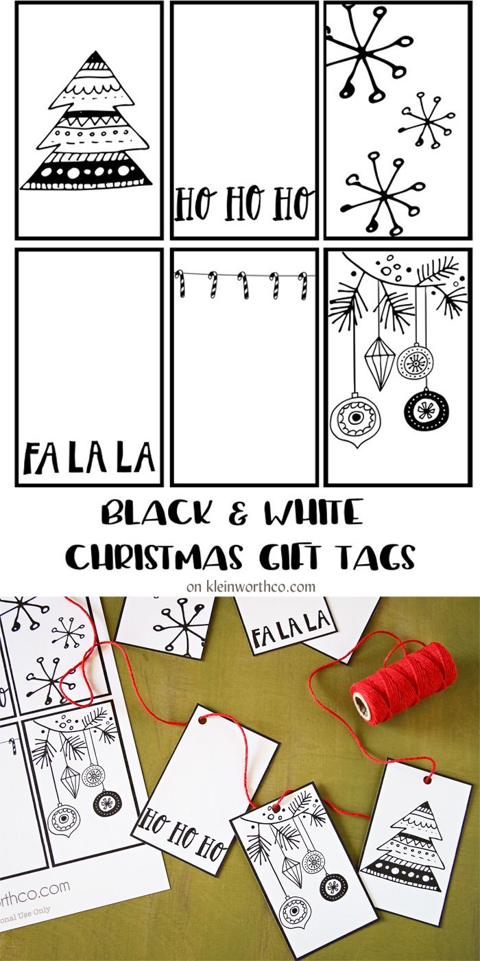 Black White Free Printable Gift Tags & Guy Gift Idea - Kleinworth & Co - Christmas Gift Tags Free Printable Black And White