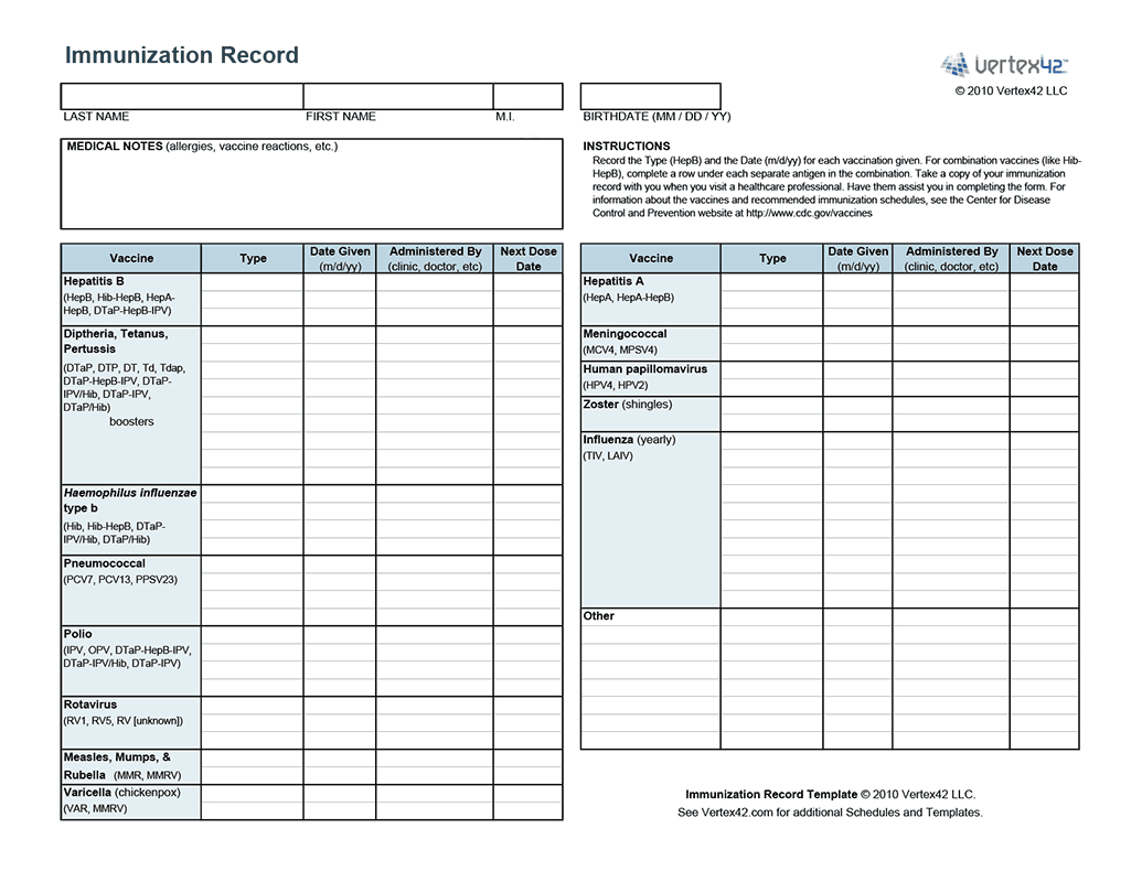 Blank Immunization Record - Demir.iso-Consulting.co - Free Printable Dog Shot Records