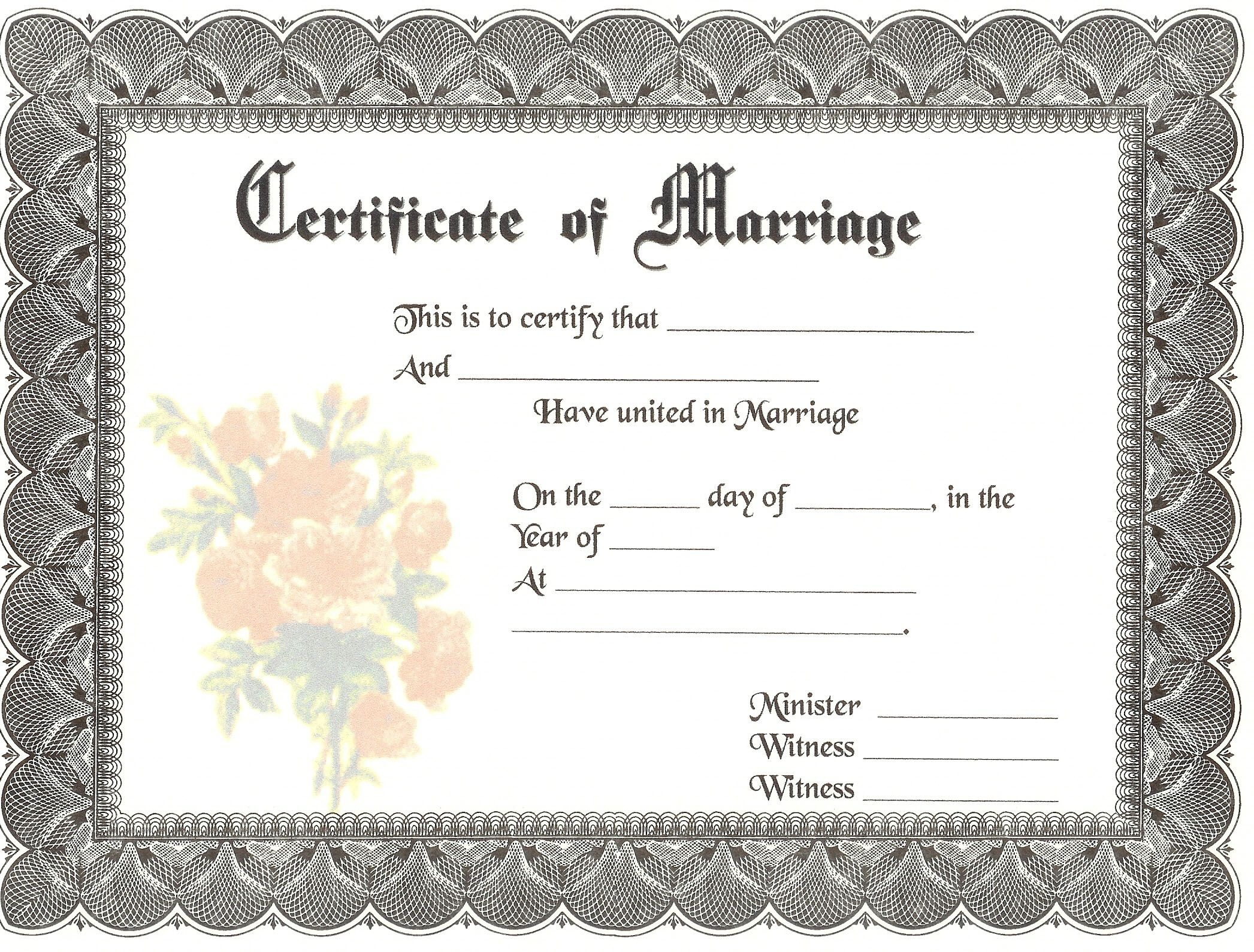 Blank Marriage Certificates | Download Blank Marriage Certificates - Free Printable Wedding Certificates