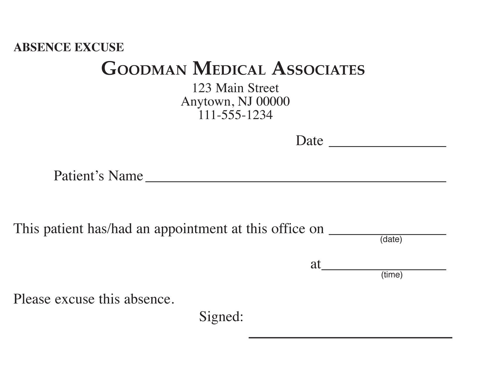Blank Printable Doctor Excuse Form | Keskes Printing - Mds - Free Printable Doctor Excuse Slips