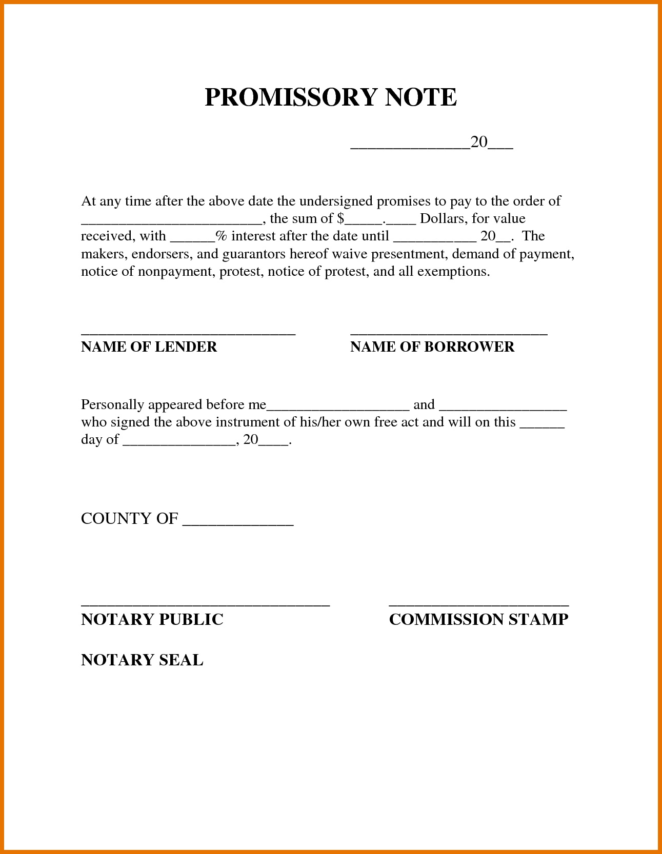 Blank Promissory Note Form - Kaza.psstech.co - Free Printable Promissory Note Template
