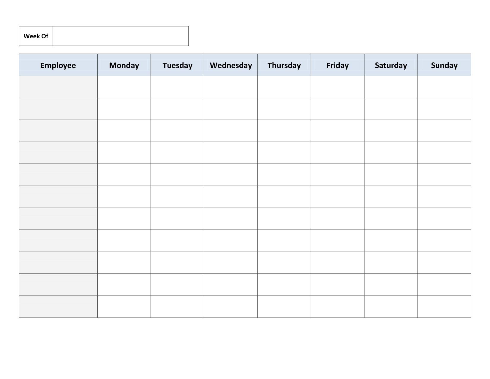 Blank Weekly Work Schedule Template | Schedule | Cleaning Schedule - Free Printable Blank Work Schedules