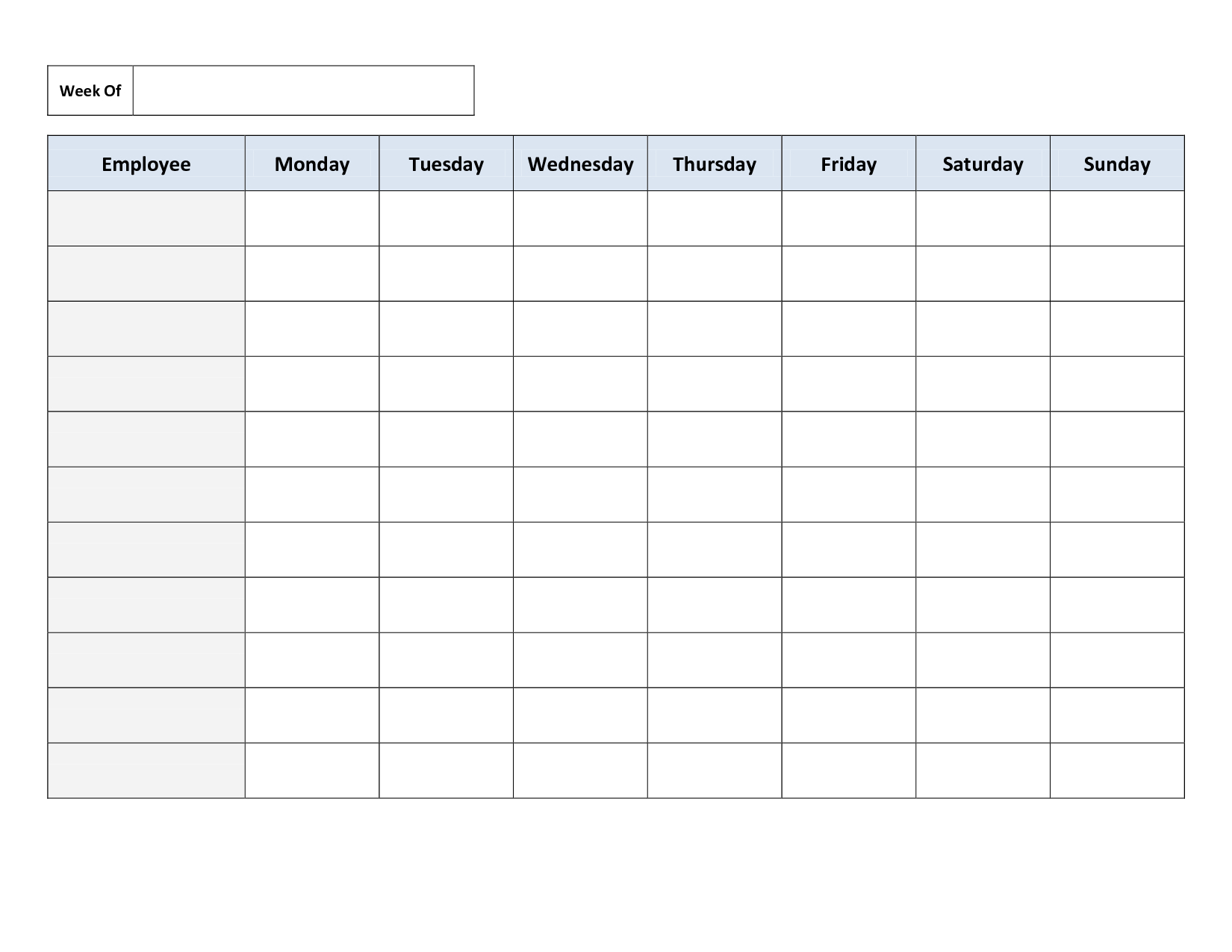 Blank Weekly Work Schedule Template | Schedule | Cleaning Schedule - Free Printable Schedule