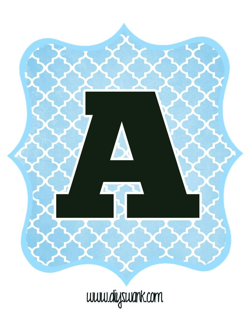Blue And Black Printable Letters For Banners   Classroom Ideas - Free Printable Whole Alphabet Banner
