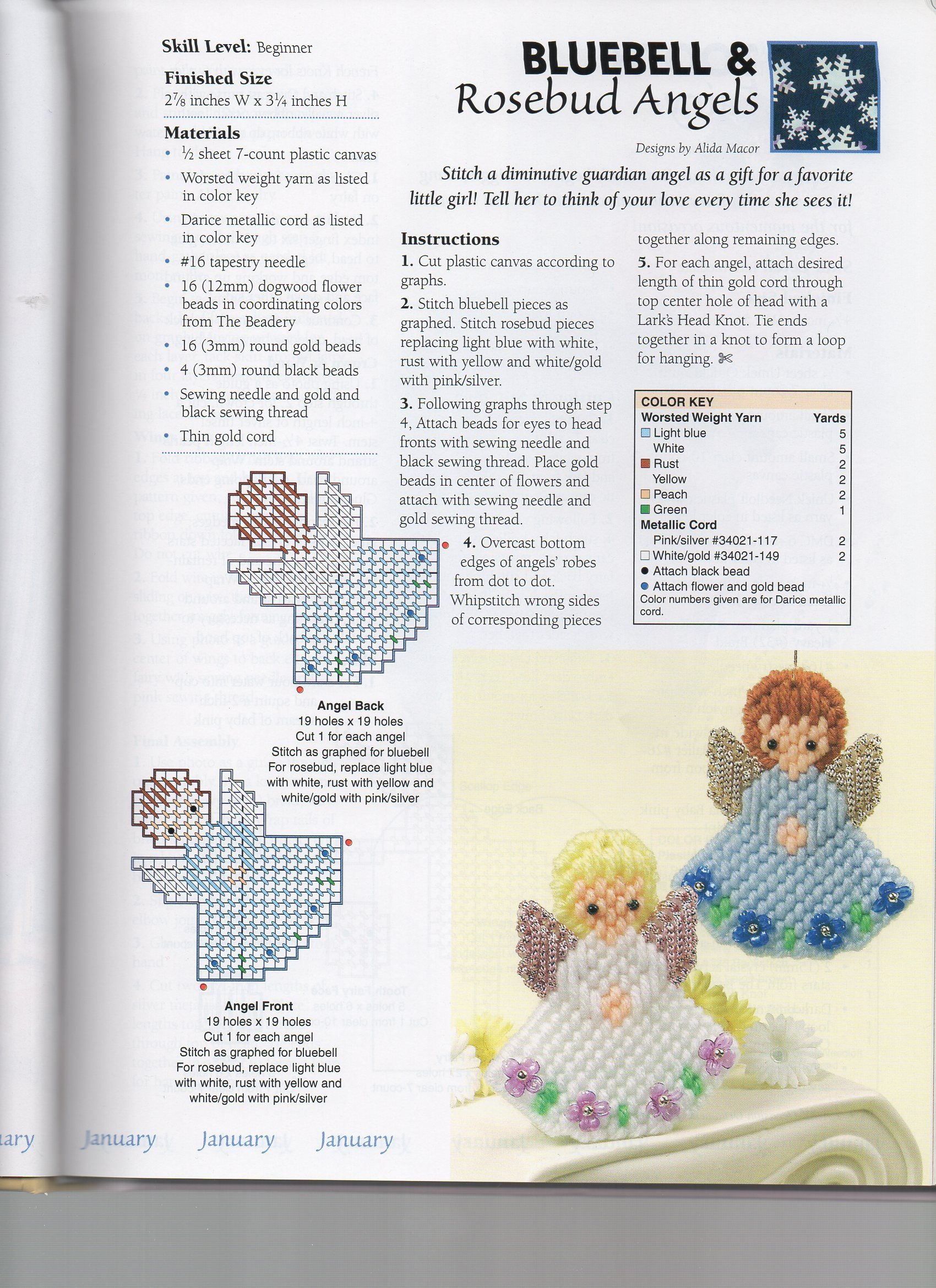 Bluebell And Rosebud Angels | Plastic Canvas | Plastic Canvas - Free Printable Plastic Canvas Christmas Patterns